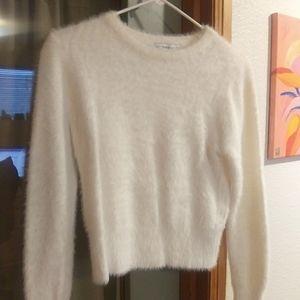 Zara White Fuzzy Sweater, Size S